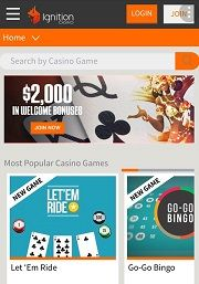 Mobile Website Ignition Casino