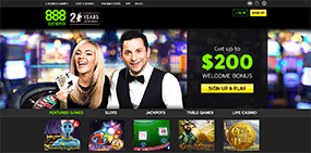 A picture of the homepage of 888casino