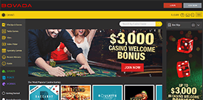 A very small picture of the Bovada website