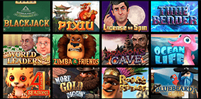 A small screenshot of the available games at Drake casino