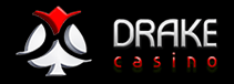 The Drake Casino logo in white, black and red