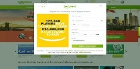 Here users see the Lottoland registration form