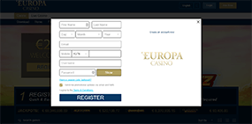Players have to fill in this registration formular at Europa Casino