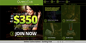 This is how the Gaming Club site looks