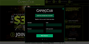 This is how the registration form looks at Gaming Club