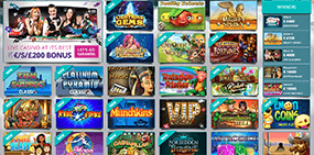 This image shows many slot game thumbnails at Karamba