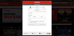 An image of the Ladbrokes registration formular