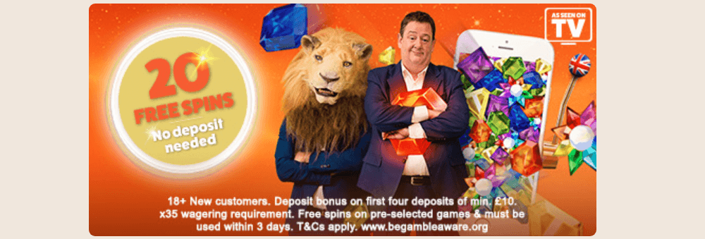 An image that shows the offer at Leo Vegas casino