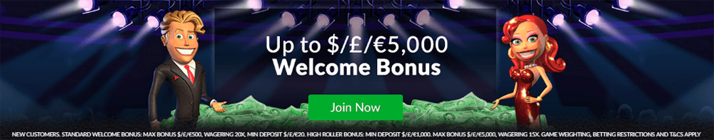 Players see the $5000 Mansion Casino welcome offer