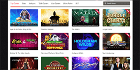 Here website visitors see only a few of the available games at Mansion Casino