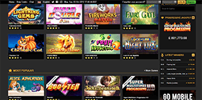 This picture shows the area where the games are located on the Netbet Casino website
