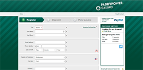 The registration formular at Paddy Power Casino