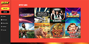 A small image of some casino games at Rizk Casino