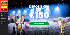 A small image of the Rizk Casino website
