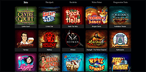 A screenshot of the available Spin Palace games