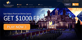 A screenshot of the Spin Palace Casino homepage